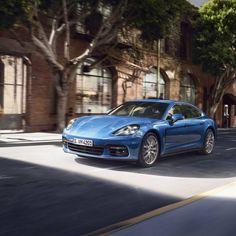 Porsche Panamera, 4k, movement, speed, blue panamera
