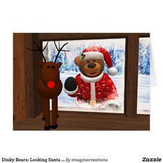 Dinky Bears: Looking Santa Claus Card