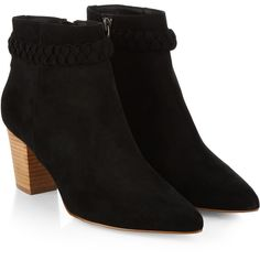 Monsoon Pitcher Plait Ankle Boot featuring polyvore, fashion, shoes, boots, ankle booties, side zipper boots, braided boots, wood boots, block heel bootie and woven boots