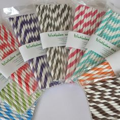 Strohhalme aus Papier 'Streifen aqua' - Streifen von greenmood - Dekoration - Kindergeburtstag - DaWanda