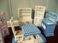 A few different ideas for my girls Barbie furniture.  I'm starting to make more pieces again.  Oh I could do bunk beds too for their 'barbie babies'!
