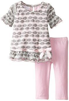 Bonnie Baby BabyGirls Newborn Novelty Knit Drop Waist To Solid Legging Set Pink 36 Months