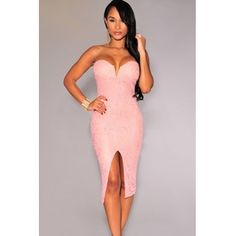 Cheap Sexy V Neck Off The Shoulder Sleeveless Pink Polyester Sheath Knee Length Dress #PinoftheDay @iamalovelywoman