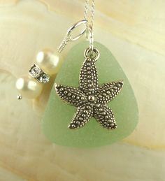 Genuine Sea Glass Jewelry Starfish Necklace by BoardwalkBaubles, $25.00