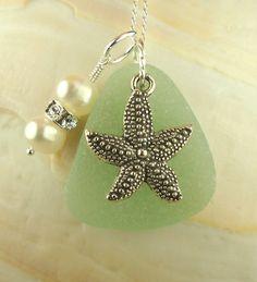 Genuine Sea Glass Jewelry Starfish Necklace by BoardwalkBaubles, $25.00