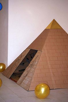 Egyptian pyramid craft for kids - preschooler arts & craft activities - Egypt Bastet, Egyptian Party, Thinking Day, Cardboard Crafts, Ancient Civilizations, Art Lessons, Projects, Egyptian Pyramid, Pyramid School Project