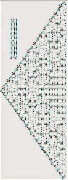 Chal triangular con guarda de cuadros / patrones crochet | Crochet y Dos agujas