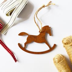 Rocking Horse Christmas Ornament Wooden Rocking Horse Wooden Ornament Vintage Christmas Christmas Horse Wooden Horse Holiday Decor by MishiuFerris on Etsy