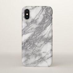 White Marble Stone And Gray Glitter iPhone X Case - glitter glamour brilliance sparkle design idea diy elegant