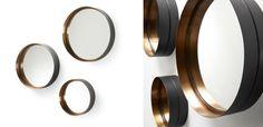 Conjunto de 3 espelhos com aro de metal (preto exterior e dourado no interior) _ L 35 x P 9 x A 35cm _ L 30 x P 9 x A 30cm _ L 23 x P 9 x A 23cm _ 294. AA0137R83