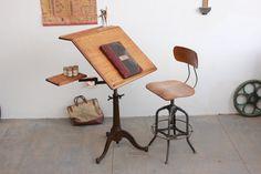Vintage Antique Industrial Dietzgen Drafting/ Drawing/ Computer Table/ Desk  - 1920s