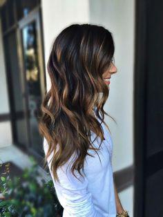 22 dark brunette hair with caramel highlights - Styleoholic