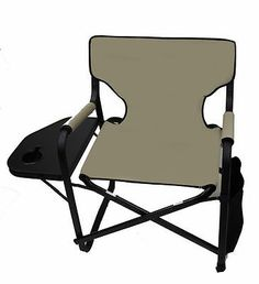 World Outdoor Products DECK MASTER KHAKI FABRIC DIRECTORS CHAIR, CUP  HOLDER, BAG