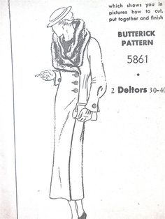 1930s coat sewing pattern by Butterick 5861. Bust 36 by Fancywork, $88.00