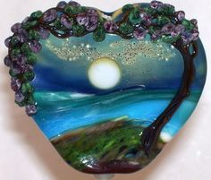 WSTGA~MOON GLOW OVER THE ISLANDS~FLORAL TREE handmade lampwork focal glass bead #Lampwork By Molly Cooley