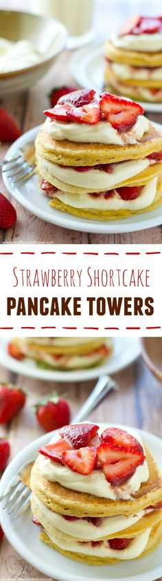 These layered pancake towers combine all the things you love about strawberry shortcake into one showstopping weekend breakfast that's guaranteed to wow brunch guests! @WholeHeavenly