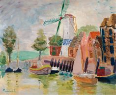 """huariqueje: """" Marina - Isaac Grünewald Swedish Oil on canvas 54 x 65 cm. Famous Art Paintings, Paintings I Love, Your Paintings, Wassily Kandinsky, Henri Matisse, Claude Monet, Pictures To Paint, Art Pictures, Graffiti"""