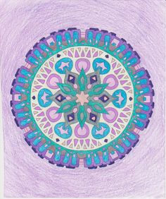 This is from Stress Less Coloring: Mandalas by Jim Gogarty.  They are very simple Mandalas, but sometimes that's what the mind needs. This one reminded me of an alien spacecraft, not that I think I've ever seen an alien spacecraft, but you know!
