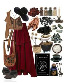 """""""maroon and tan gypsy witch"""" by beautyandstylefox ❤ liked on Polyvore featuring Rosie Assoulin, Clayton, River Island, Dorothy Perkins, Eugenia Kim, Jayson Home, gypsy, pagan and wicca"""