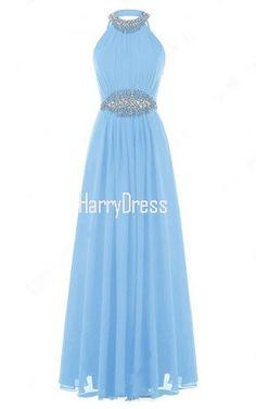 A Line Scoop Neck Chiffon Floor Length Sequins Blue Open Back Prom Dress