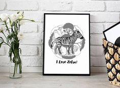 Zebra print 1  printable poster  gift for him gift for her