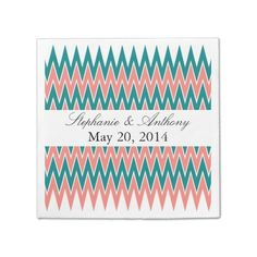Coral Pink and Teal Zigzag  Wedding Disposable Napkin