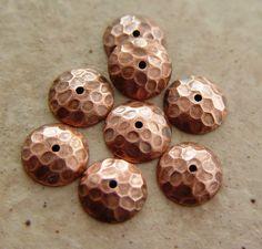 Copper Hammered Pattern Bead Caps, 4 pair (8 caps). $12.00, via Etsy.