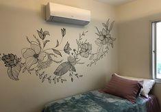 Wall Painting Decor, Mural Wall Art, Graffiti Wall, Diy Wall Art, New Interior Design, Bathroom Interior Design, Bedroom Murals, Bedroom Wall, Wall Drawing