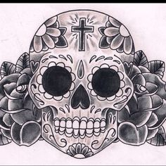 Sugar skull tattoo art
