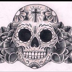 Sugar skull tattoo art
