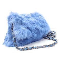 Angora Rabbit shoulder bag and Clutch - Get this great quality angora rabbit fur chained shoulder bag adds fashion to your day and night look.  Link    #fashion #women #womenfashion