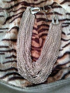 Vintage 1960s Necklace Multi Strand Gold Chain Bib by bycinbyhand