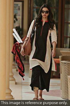 Deepika+Padukone+Cotton+Plain+Off+White+Semi+Stitched+Bollywood+Designer+Suit+-+2505 at Rs 799