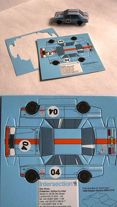 Not a game, but this one turns into a car. Bonus points for the Gulf Oil colors! Cool Business Cards, Business Card Design, Creative Business, My Dream Car, Dream Cars, Funny Billboards, Race Car Party, Car Themes, Weird Cars