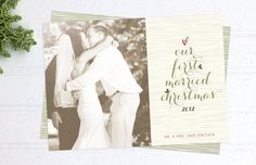 Newlywed Christmas Cards - Printed Just Married Holiday Cards - Double Sided First Married Photo Christmas Cards. $54.50, via Etsy.