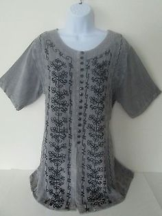 Bohemian Embroidered Tunic Top Made India Duster Gray Black Free Sz M  L  XL