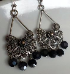 SALE take 15% off Ethnic Bali Chandelier Earrings with Blue Crystal Pill Beads and Filagree Pewter