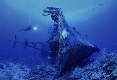 Eerie Underwater Graves & Diving For Submerged Skeletons - WebEcoist Under The Water, Under The Sea, Underwater Ruins, Underwater Photos, Underwater Photography, Underwater Shipwreck, Abandoned Ships, Abandoned Places, Top Photos
