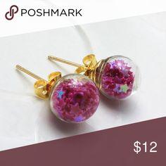 Glass Globe Earrings Beautiful gold toned zinc alloy earrings. Glass globes contain purple stars. New in package. Jewelry Earrings