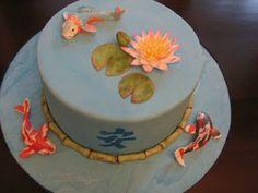 Chinese birthday cake on pinterest koi lotus flowers for Chinese fish cake
