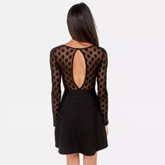 Sexy Backless Dots Lace Spliced Long Sleeve Dress