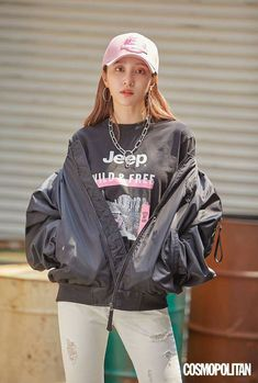 Girls Group Names, Ahn Hani, Rain Jacket, Bomber Jacket, Wild Girl, Shades Of Red, Beautiful Asian Girls, Cosmopolitan, Sensual