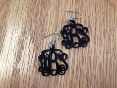 Entwined Monogram Earrings  Acrylic by LifeAStitch on Etsy, $14.50