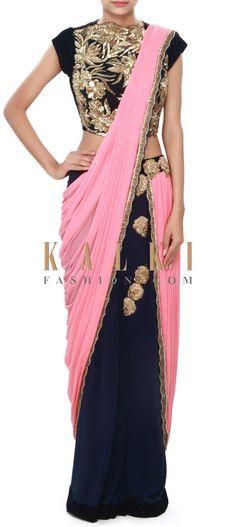 Pink and navy blue saree gown adorn zardosi embroidered butti only on Kalki Dhoti Saree, Drape Sarees, Saree Gown, Drape Gowns, Indian Bridal Lehenga, Indian Gowns, Indian Sarees, Indian Outfits, Indian Gown Design