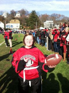 Mary Cuffe got the game ball at this year's Marblehead/Swampscott Powder Puff game. #inspiration