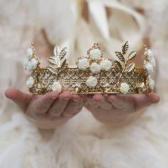 Gold & Cream Dream Rose Royal Crown Tiara – Angora Boutique