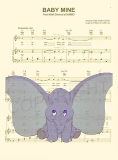 Dumbo Baby Music Sheet Art Print by AmourPrints on Etsy