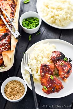 Sweet Korean Paleo Chicken Thighs with Cauliflower Rice   A super easy to make and incredibly delicious paleo meal your whole family will love!   theendlessmeal.com