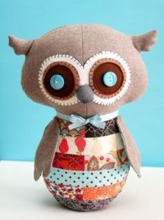 """""""Bubbly the Scrappy Soft Owl"""" designed by Jhoanna Monte Aranez for One Red Robin."""