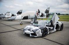Camo Lamborghini Aventador with fighter jets..